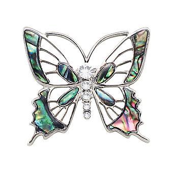 Ikuinen kokoelma Jardin paua Shell Silver Tone Butterfly rinta neula