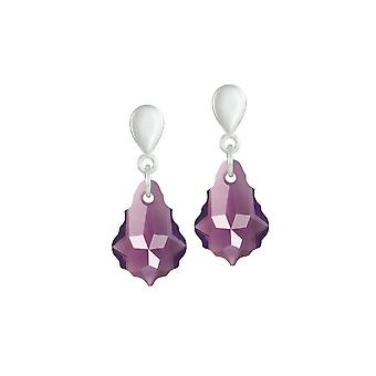 Eternal Collection Baroque Amethyst Austrian Crystal Silver Tone Drop Clip On Earrings
