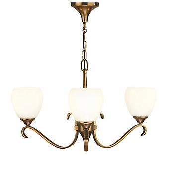 3 luz multi braço do teto pingente lustre de bronze antigo, vidro Opal