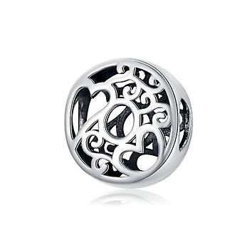 Sterling silver alphabet charm with hearts letter O