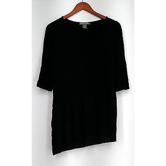 Kate & Mallory Scoop Neckline Top w/ Asymmetric Pleats Black A428323