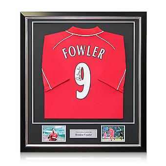 Robbie Fowler Signed Liverpool Number 9 Shirt 2001. In Deluxe Frame