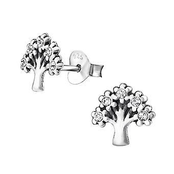 Tree - 925 Sterling Silver Crystal Ear Studs - W31175X