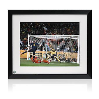 Andres Iniesta Signed Spain Photo: World Cup 2010 Winning Goal. Framed