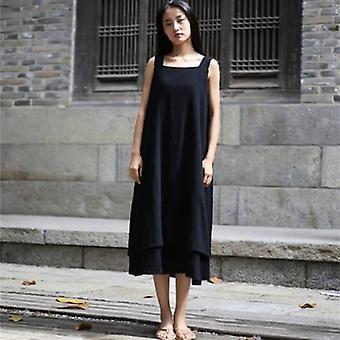 Sleeveless Double Layer Drawstring  Dress