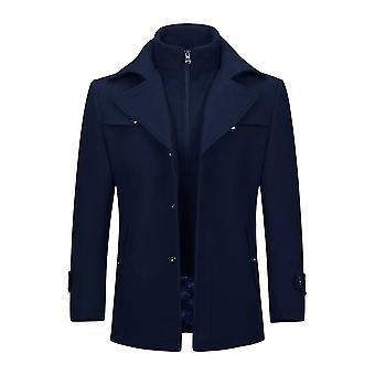 Allthemen Men's Double Collar Solid Thickened Wool Blend Overcoat