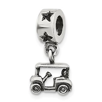 925 Sterling Silver Polished Reflections Golf Cart Dangle Bead Charm Pendant Necklace Jewelry Gifts for Women