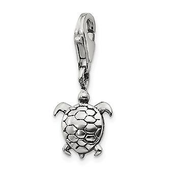 925 sterling sølv poleret antik finish fancy hummer lukning refleksioner Turtle click-on perle charme