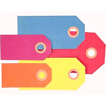 500 Mixed Luggage Style Bright Coloured Tags for Crafts