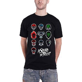 Suicide Squad T-paita Squad kasvot uusi virallinen miesten musta T-paita