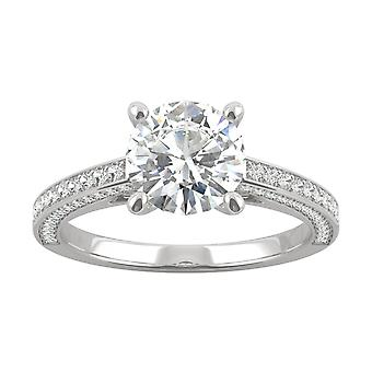 14K White Gold Moissanite by Charles & Colvard 7.5mm Round Engagement Ring, 2.10cttw DEW