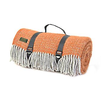 Tweedmill Polo Illusion Picnic Rug con Impermeabile Backing - zucca/grigio
