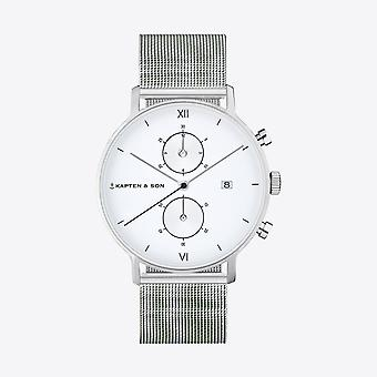 Kapten and Son Chrono Silver Mesh Watch