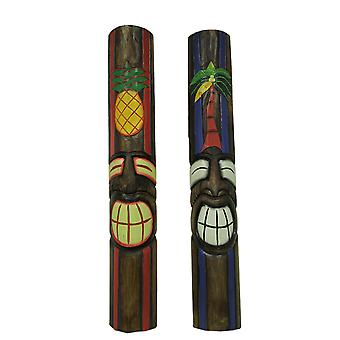 手塗りの木製の彫刻 2 ピースセット熱帯ティキ マスク壁掛け