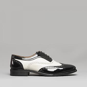 Mister Carlo Baggio Ii Mens Semi Brogue Patent Shoes Black/white