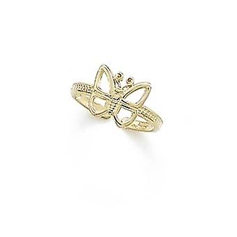 14k Yellow Gold Outline Butterfly Toe Ring Jewelry Gifts for Women - .8 Grams