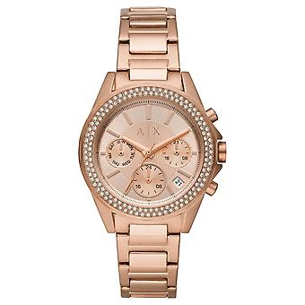 Armani Exchange Ladies 'Drexler' Round Rose Chronograph Dial Stone Bezel Rose Gold Plated Bracelet Watch