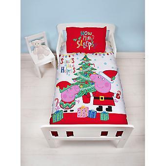 Peppa Pig Noel Panel 4 In 1 Junior Bedding Bundle Set (Duvet, Pillow