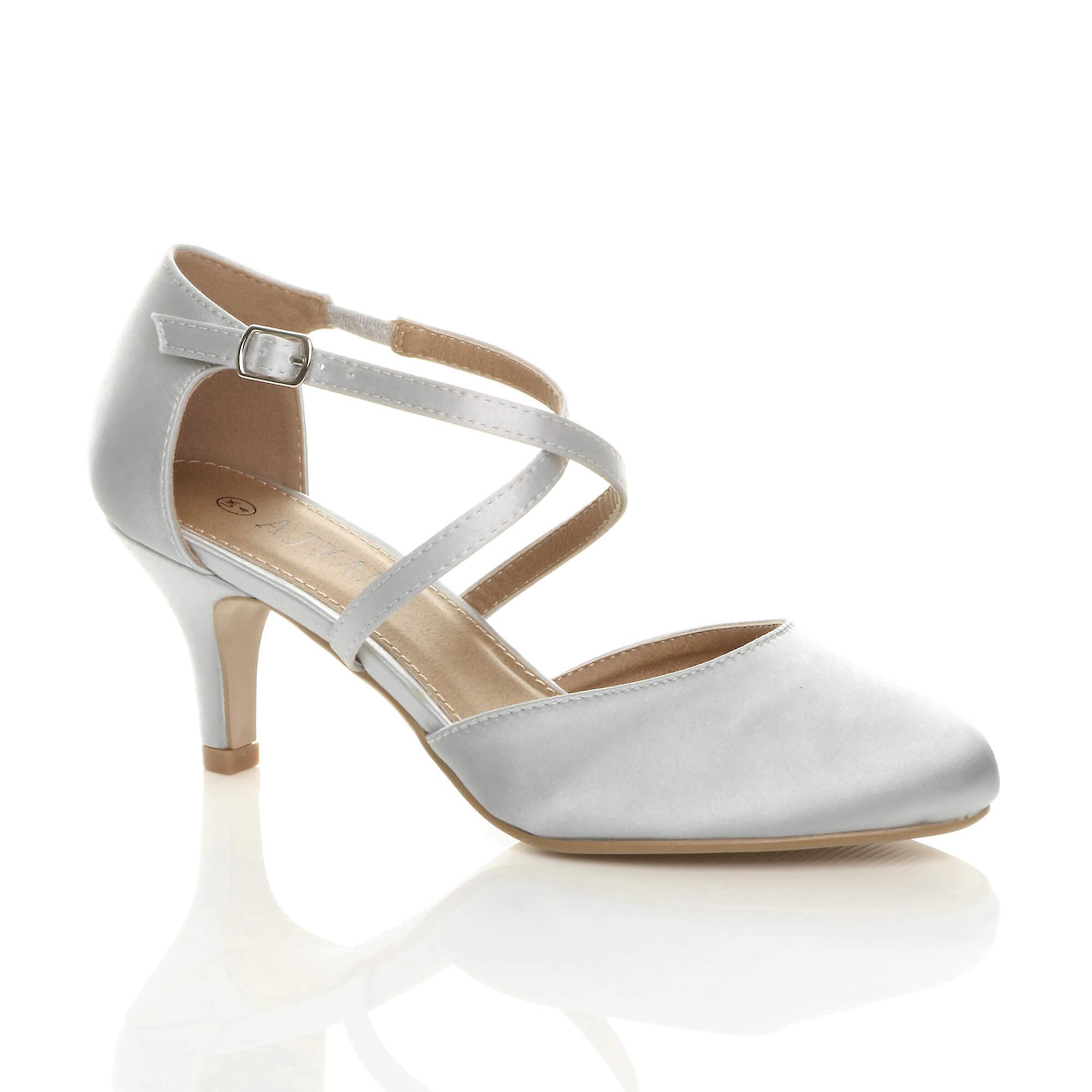 Ajvani kobiety połowie wysokiego obcasa strappy crossover ślub ślub sandały buty l6vik