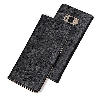 For Samsung Galaxy S8 PLUS Case,Fashion Wallet Cow Genuine Leather Cover,Black