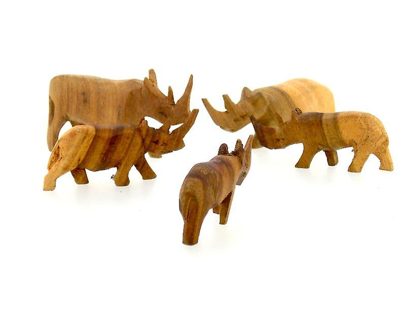 Vintage Wooden Rhino Figurine Family - 5 Piece Set