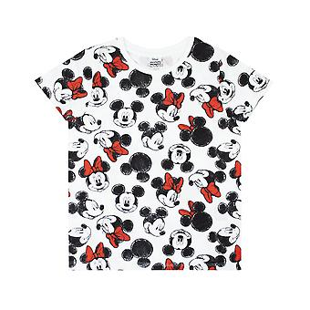 Mickey And Minnie Mouse Cute All Over Print Girl's Black White & Red Bow T-shirt