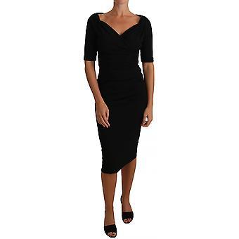 dolce & gabbana svart ruched ull kjole elastisk kjole