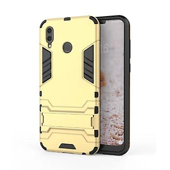 HATOLY iPhone XR - Robotic Armor Case Cover Cas TPU Case Gold + Kickstand
