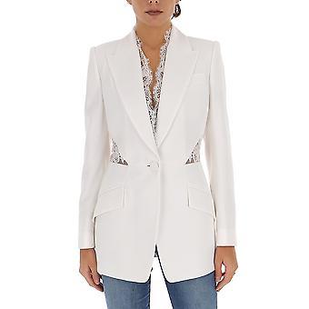 Alexander Mcqueen 607334qeaaa9007 Women's White Cotton Blazer
