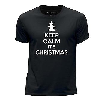 STUFF4 Boy's Round Neck T-Shirt/Keep Calm It's Christmas/Black