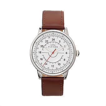 Elevon Gauge Leather-Band Watch - Silver/Dark Brown
