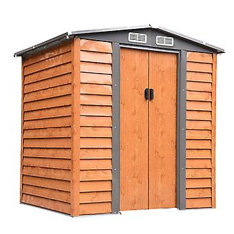 Outsunny6.5x5.2ft Metal Garden Shed House Hut Gardening Tool Storage with Foundation and Ventilation Brown with wood grain