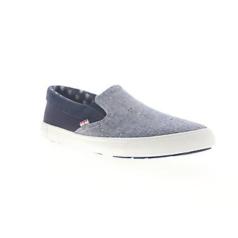 Ben Sherman Pete Slip On  Mens Blue Canvas Sneakers Shoes