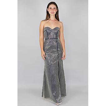 Navy fishnet maxi dress