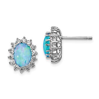 10.16mm Cheryl M 925 Sterling Silver Lab Simulated Blue Opal Post Earrings Jewelry Gifts for Women