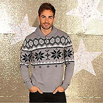 Kerst Shop Mens sjaal kraag gebreide Fairisle Design Jumper