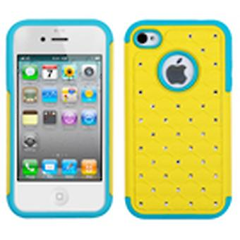 Asmyna Luxurious Lattice Dazzling Case pour iPhone 4s/4 - Sarcelle jaune/tropical
