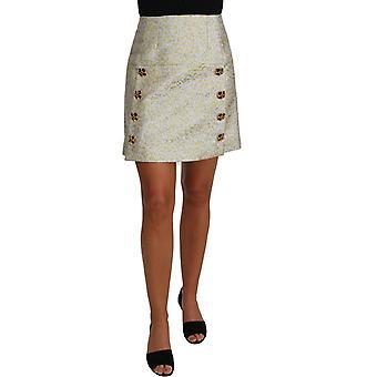 Dolce & Gabbana Gold Brocade Crystal Jaquard Mini Skirt -- PAN6378096