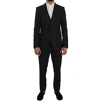 ドルチェ&ガッバーナグレーウールシルクストレッチスリムフィット 3ピーススーツ -- SIG5737008