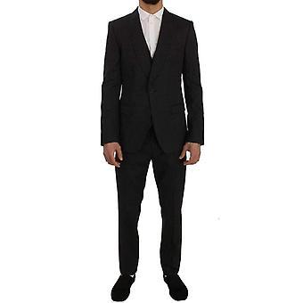 Dolce & Gabbana Gray Wool Silk Stretch Slim Fit 3 Piece Suit -- SIG5737008