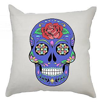 Sugar Skull Cushion Cover 40cm x 40cm Blue