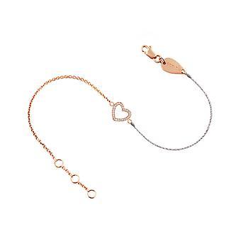 Armband Herz 18K Gold und Diamanten, auf halbfaden halbkette - Rose Gold, weiß