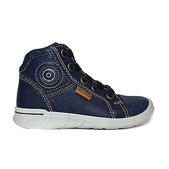 Ecco Indigo 7 754021 01325 Blue Leather Boys Encaje/Zip Up Primeras Botas