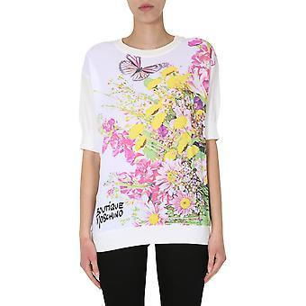 Boutique Moschino 093008001002 Women's White Cotton T-shirt