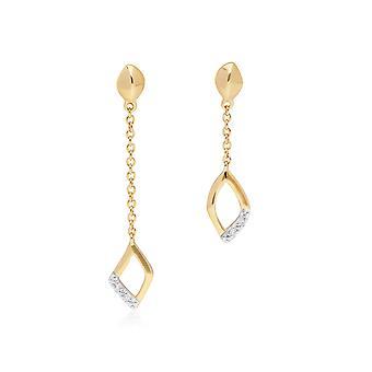 الماس باب لا متطابقة الأقراط المتدلية قطرة في 9ct الذهب الأصفر 191E0393029