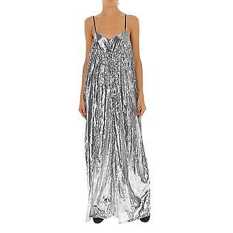 Amen Amw19301018 Damen's Silber Viskose Kleid