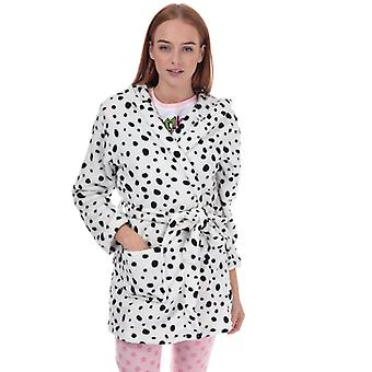 Women's Brave Soul Dalmatian Print Dressing Gown in White