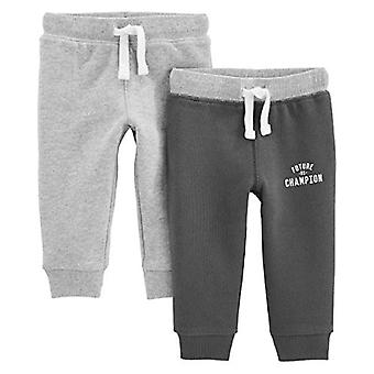Simple Joys by Carter's Boys' 2-Pack Athletic Knit Jogger Pants, Charcoal Gra...