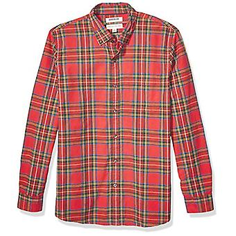 Brand - Goodthreads Men's Long-Sleeve Plaid Oxford Shirt, Bright Red T...