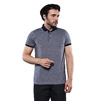 Navy blue polo printed t-shirt | wessi